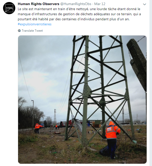 Cleaning up the land after the expulsion at the Calais camp | Photo: Screenshot of Twitter account / Human Rights Obs