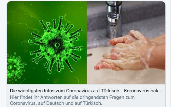 The most important info about coronavirus in Turkish – A Tweet from Nilan Sipar | Screenshot @NalanSipar