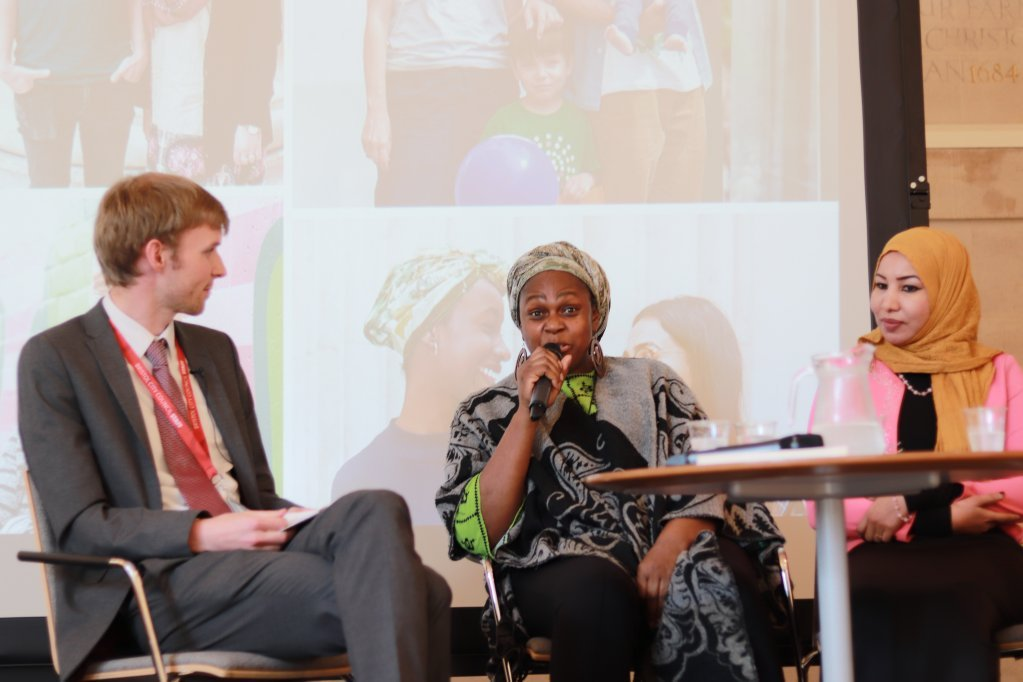 Sara (on the right of the picture) took part in the discussion in Bristol | Photo: IOM /A. Dwommoh