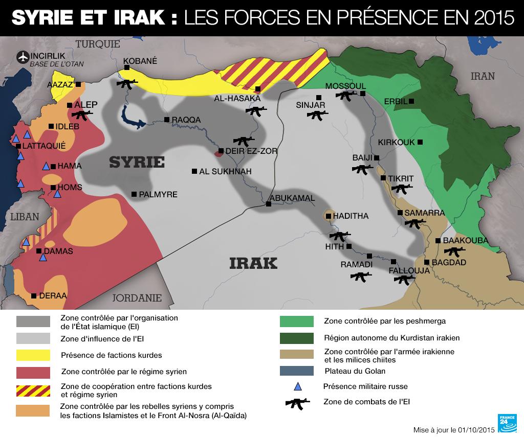 En 2015 la Syrie est morcele par diffrentes factions armes