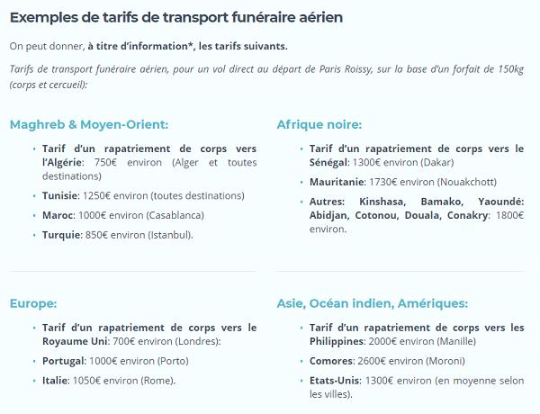 Ces tarifs sont indicatifs et susceptibles de variations: visitez le site Eclip's, spécialiste du transport funéraire, pour des tarifs actualisés et des explications sur le coût d'un rapatriement de corps avion.
