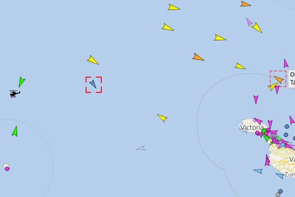 L'Ocean Viking se situe, vendredi 16 août, entre Malte et la petite île italienne de Linosa, au nord de Lampedusa. Crédit :  www.vesselfinder.com