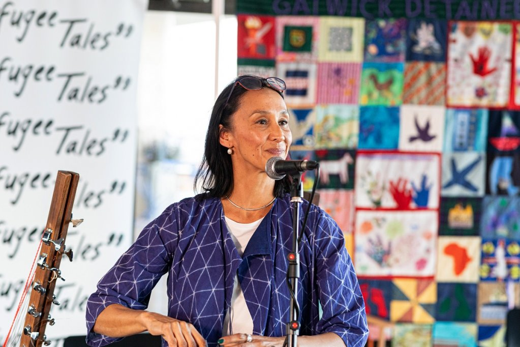 The author Monica Ali reads during a Refugee Tales event  Photo Chris Orange