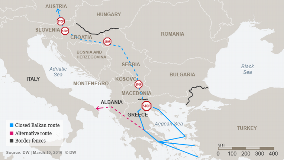 The different routes through the Balkans | Credit: DW