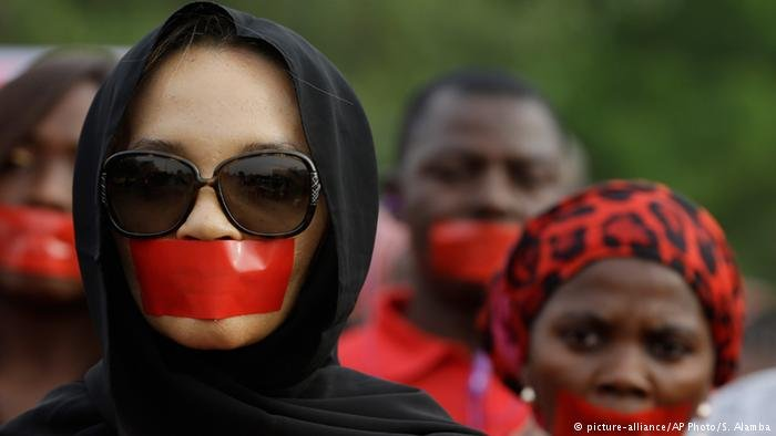 A file photo of Nigerian women participating in a protest march