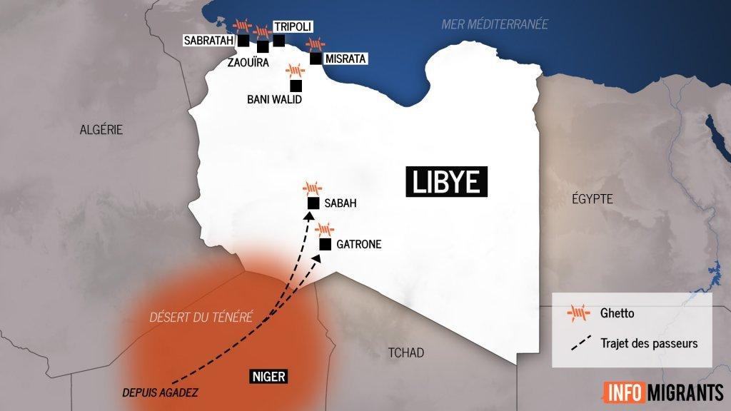 Carte des ghettos en Libye. Crédit : InfoMigrants