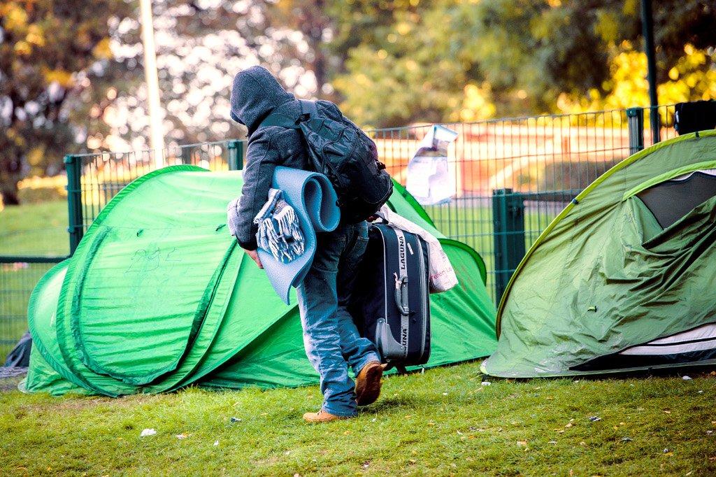AFP/Laurie Dieffembacq |Un nouveau village de tentes est apparu cet été dans le parc Maximilien de Bruxelles (illustration).
