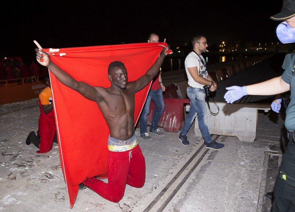 Upon arrival in Motril port in southern Spain: one of 67 persons rescued from a boat on October 14