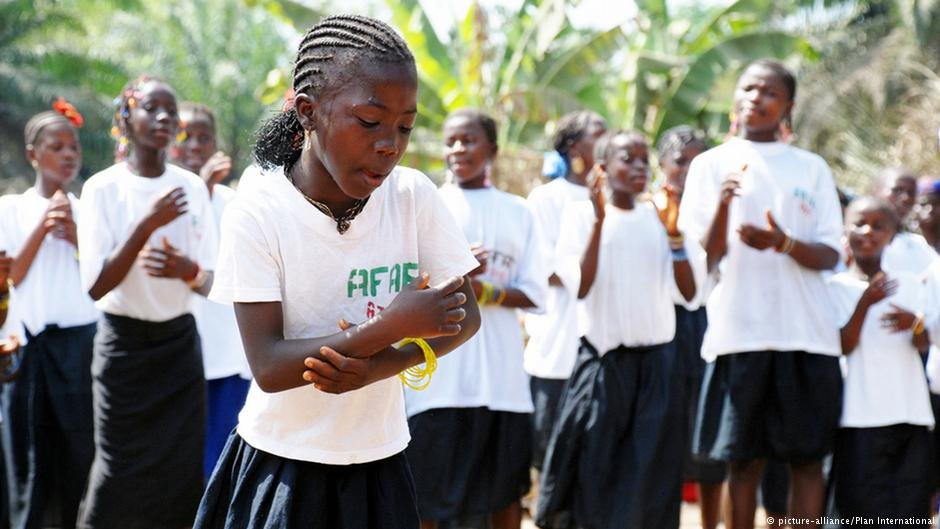 Girls performing a play about FGM in Sierra Leone