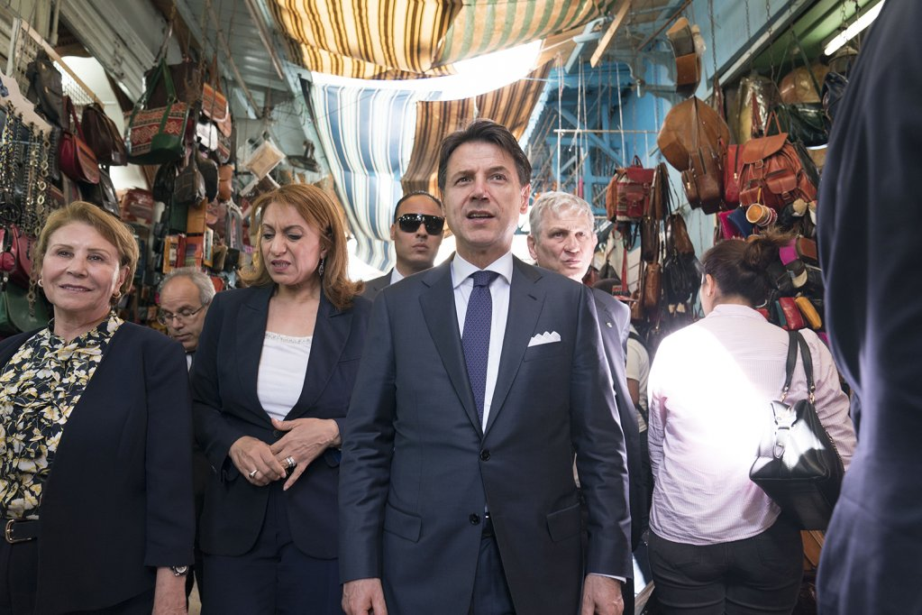 Italian Prime Minister Giuseppe Conte visiting a Souk in Tunisia  Credit Use of this photo with kind permission of the Italian Government under the Creative Commons Licence CC-BY-NC-SA 30 IT