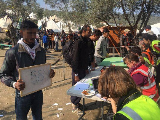 Jazzi* at the registration center in Moria, Lesbos