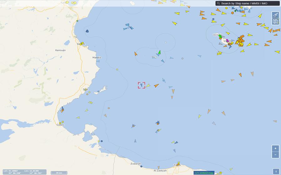 Le navire humanitaire Ocean Viking est de retour en Méditerranée centrale. Crédit : vesselfinder.com