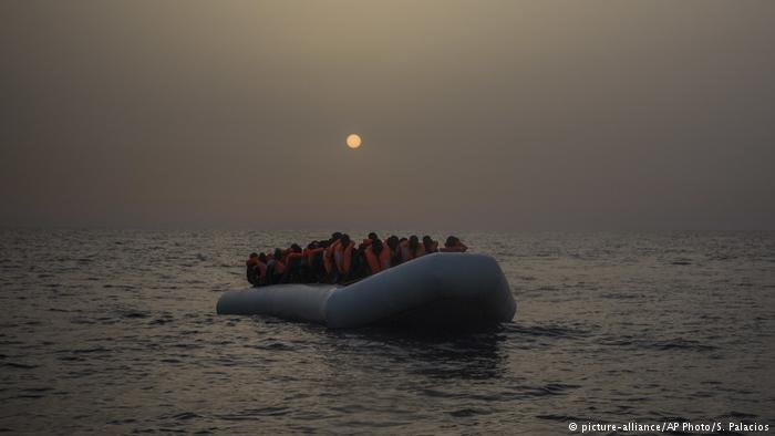 From file: Migrants on a rubber dinghy in the Mediterranean Sea