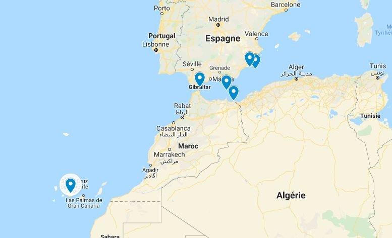 Les lieux de sauvetage des migrants secourus par les garde-côtes espagnols, le 25 décembre 2019. Crédit : Google maps