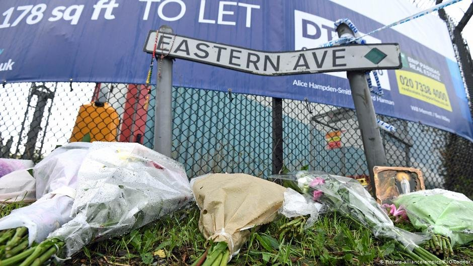 Floral tributes left on Eastern Avenue Grays Essex where 39 bodies were discovered in a lorry  Photo picture alliance  empics