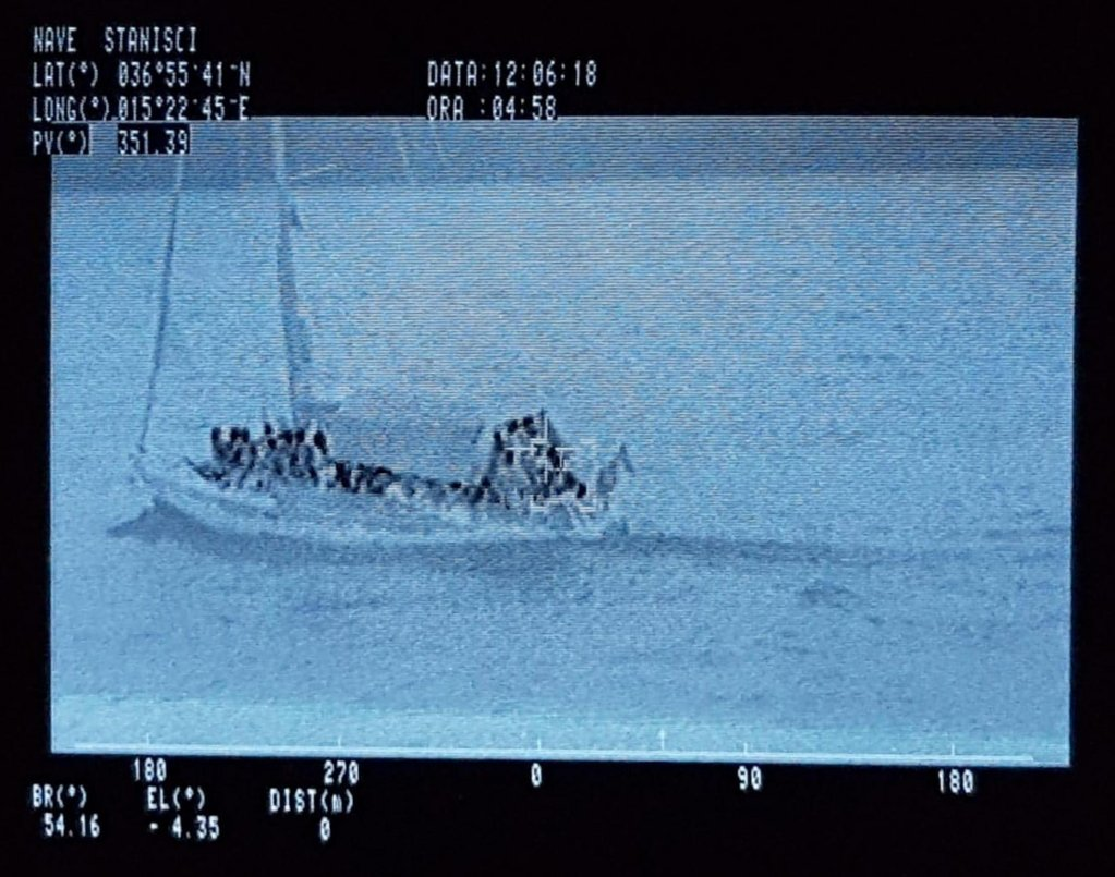 This is a sailboat carrying 55 migrants which was recently rescued by the Italian Finance Police off the coast of Siracusa Photo/Archive/ANSA/Finance POlice