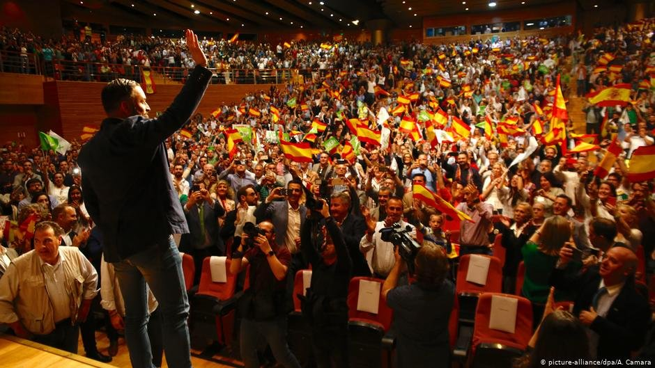Santiago Abascal chairman of the Vox party at a campaign rally in Granada Spain on April 17 2019  Photo Picture-alliancedpaACamara
