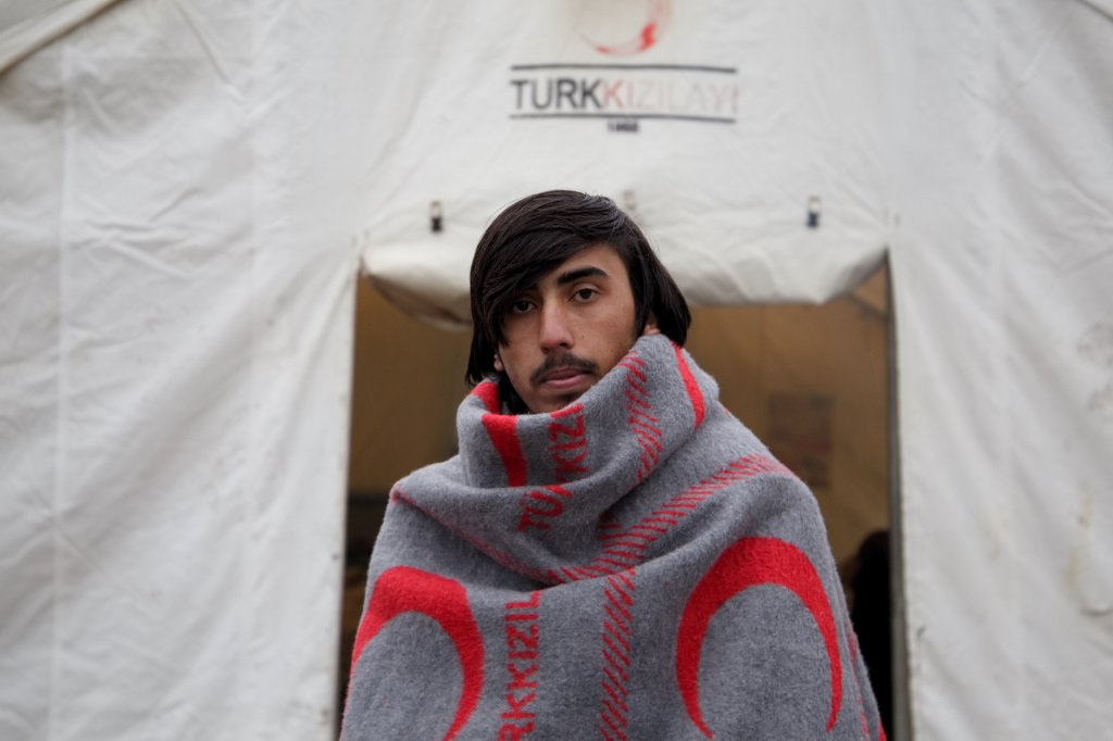 Anwar Ullah in front of his tent in Vučjak | Photo: Jelena Prtoric