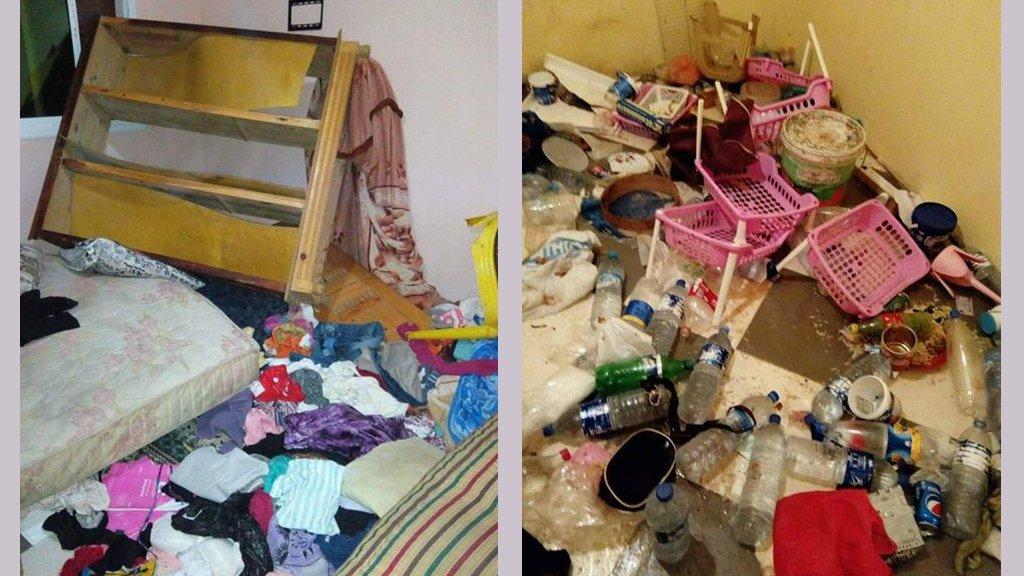 Photo de l'appartement d'Adama à Tanger après le passage des autorités. (Crédits : anonyme/Facebook)