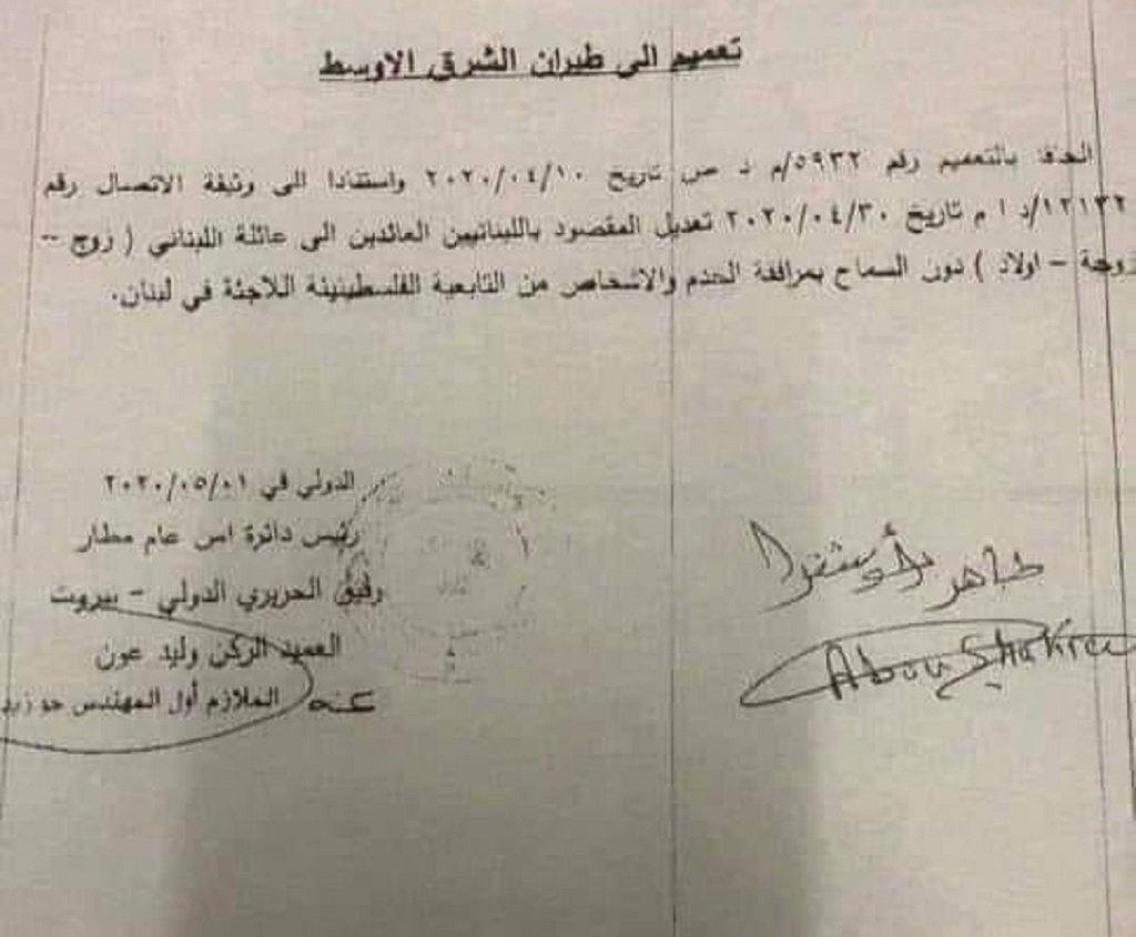 نص قرار الأمن العام اللبناني المتعلق بعدم عودة اللاجئين الفلسطينيين إلى لبنان. الحقوق محفوظة