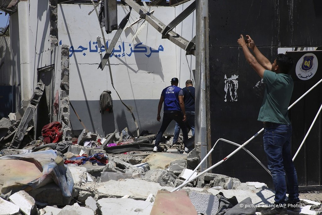 The airstrike left the detention center at Tajoura Tripoli in ruins July 3 2019  Photo Hazem Turkiapicture-alliance