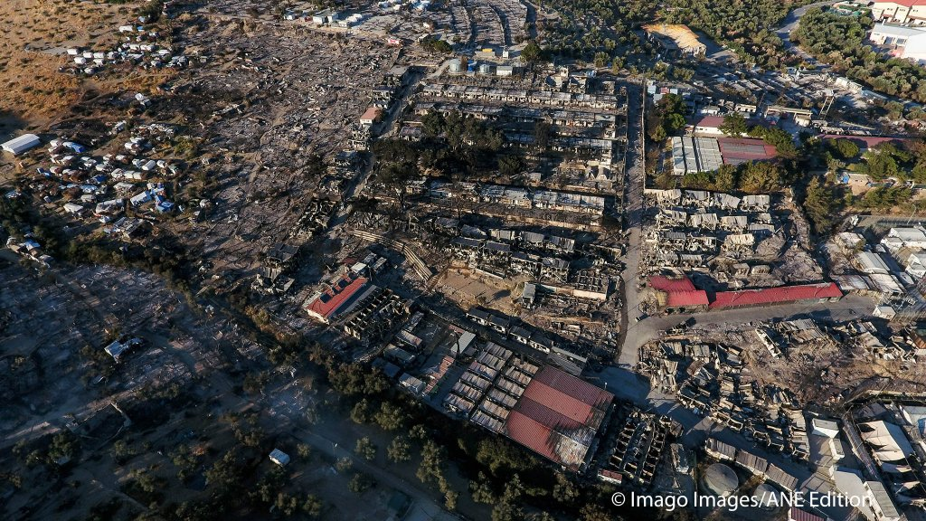 An arial image of the charred remains of the Moria camp after several fires destroyed most of the tented accommodation  Photo Imago Images  ANE Edition