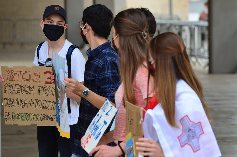 Students protesting the treatment of migrants in Malta | Source: Facebook site of Xandru Cassar