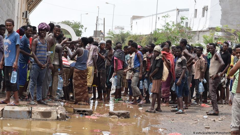 Line of migrants in Yemen detention center