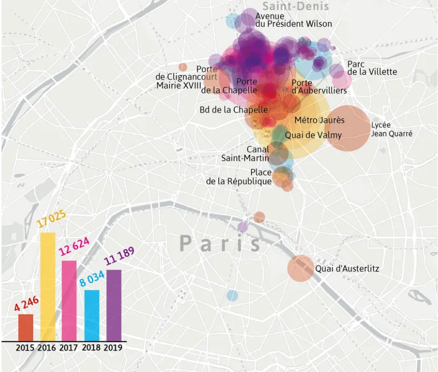 Between June 2015 and November 2019 more than 53000 migrants and asylum seekers staying in makeshift camps in Paris have been evacuated and taken to shelters in the city  Credit Screenshot FranceCulture report  Source Paris Townhall Visactu