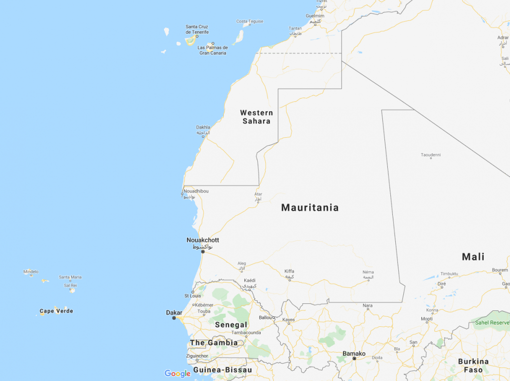Screenshot of Western Africa region with Spains Canary Islands in the top middle  Credit Google Maps