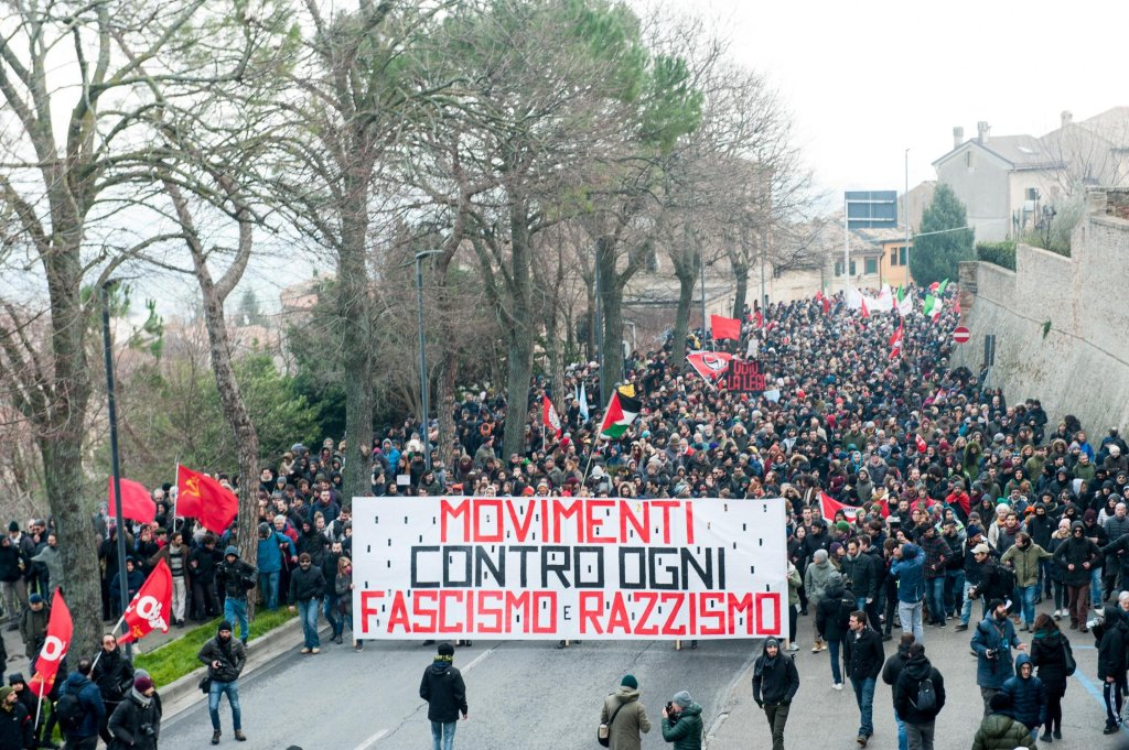 Demonstrators during an anti-racism rally in Macerata, 10 February 2018, after an Italian, Luca Traini, shot several African migrants on the streets of this Central Italian town. Credit: ANSA/FABIO FALCIONI