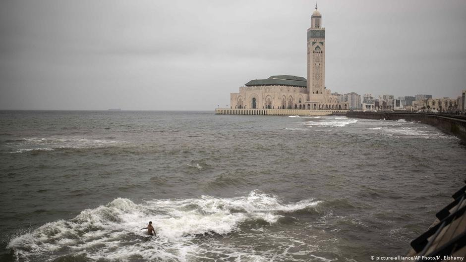 A boy takes a swim in the ocean on the coast of Casablanca Morocco July 24 2019  Photo picture allianceM Elshamy