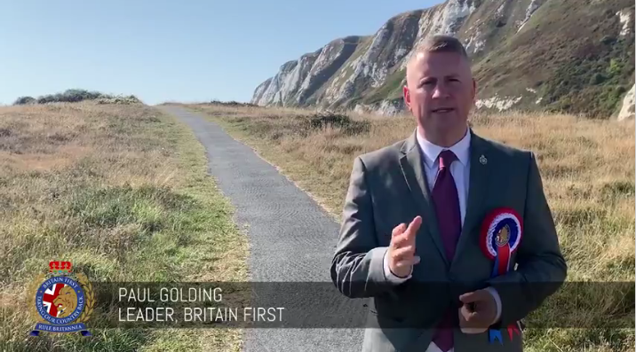 Paul Golding, Leader of Britain First in a Screenshot from one of their videos | Credit: Screenshot from Britain First Video