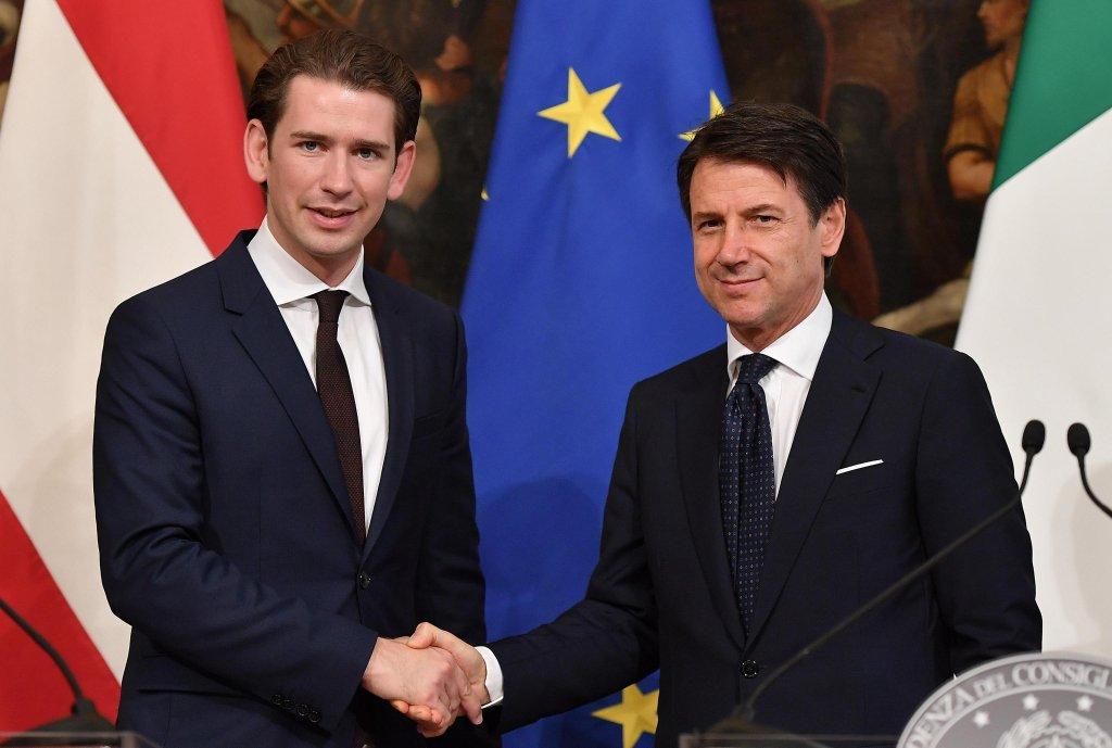 Italian Premier Giuseppe Conte and Austrian Chancellor Sebastian Kurz | Credit: ANSA/ETTORE FERRARI