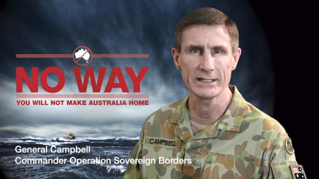 "ANSA / مشهد من شريط الفيديو ""لا سبيل""، الذي أعدته الحكومة الأسترالية لمواجهة الهجرة غير الشرعية."