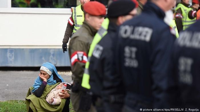 Refugees on the Austrian border
