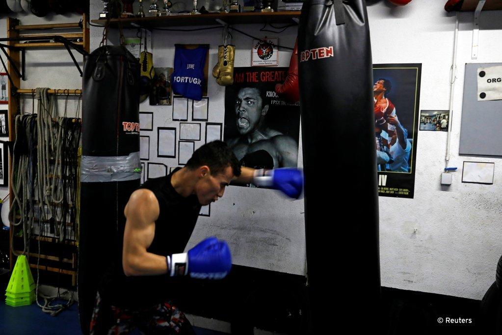 Farid Walizadeh pendant une session d'entraînement à Lisbonne, février 2020   Photo: Reuters/R. Marchante