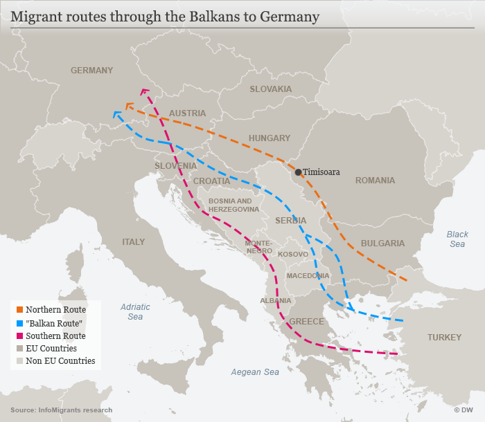 Migrant routes through the Balkans to Germany  Credit DW