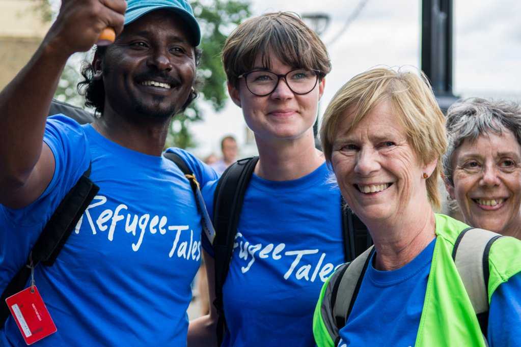 Some of the Refugee Tales group pose for the camera  Credit Sarah Hickson