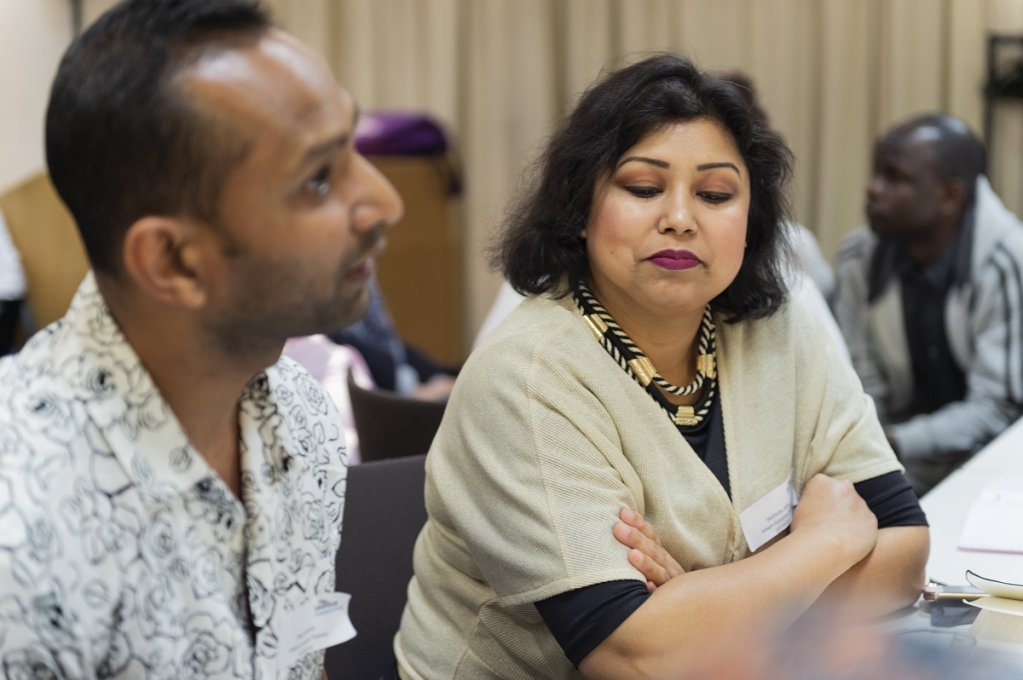 Mahbuba discusses with Mash Mahbubur Rahman during a seminar at The Guardian  Photo Veronica Otero wwwveronicaoterouk