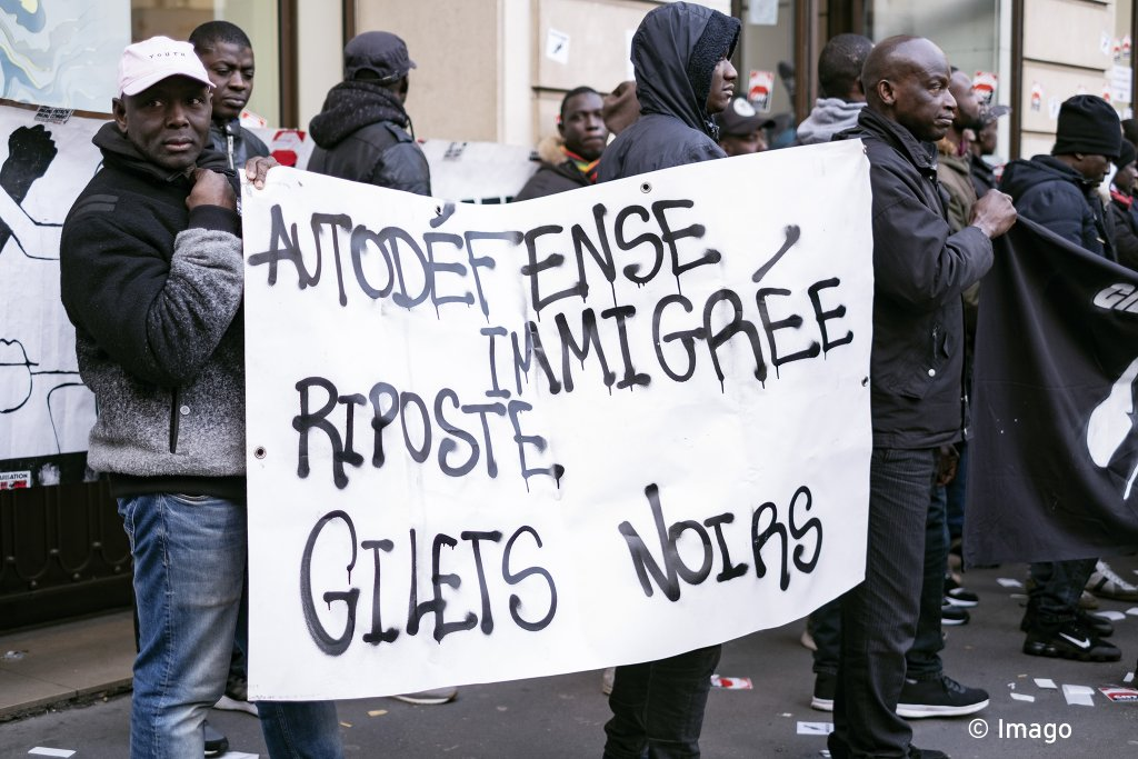 The Black Vests collective occupies the Nespresso Opera boutique a client of the multinational Elior which exploits undocumented migrants Paris 03122019  Photo Imago  Noemie Coissac