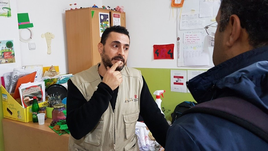Amran Khalifa volunteers in a center for asylum seekers in Bogovadja near Belgrade  Credit N Rujevic