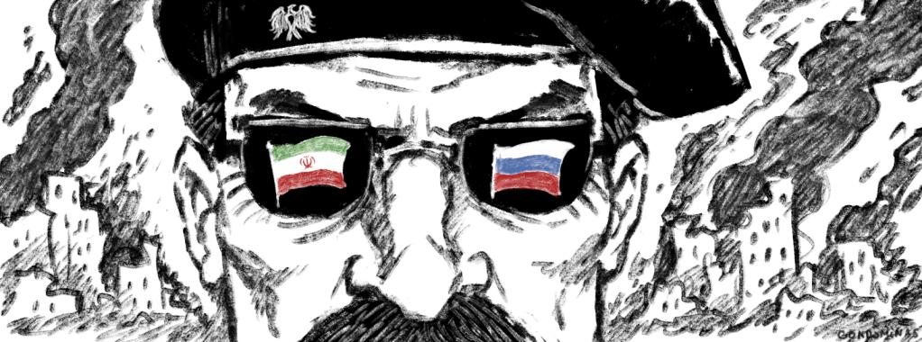 فرق عسكرية ممولة من إيران وروسيا. رسوم: باتيست كوندوميناس