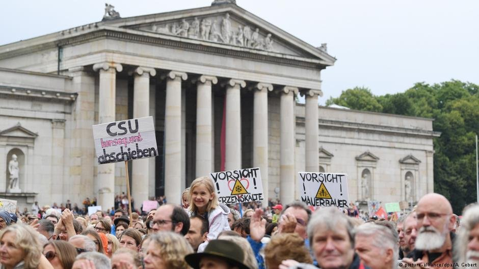 Protesters gathered in July in Munich to demonstrate against the policies of the CSU
