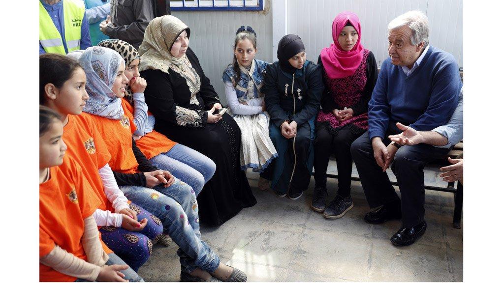 ( أ ف ب)  أمين عام الامم المتحدة غوتيريس، مخيم الزعتري للاجئين السوريين، الأردن (28-03-2017)