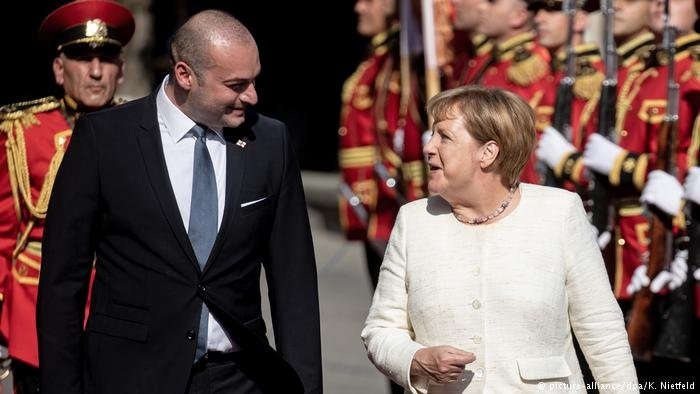 Georgian Prime Minister Mamuka Bakhtadze with German Chancellor Angela Merkel in Tbilisi, Georgia