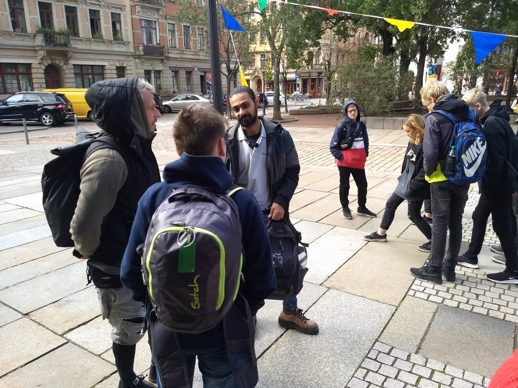 Danial talking to the people who joined his tour in early October  Photo Emma Wallis