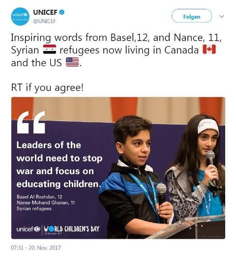 منظمة اليونيسيف تثني على الكلمات التي قالها طفلان سوريا في مقرها، بمناسبة العيد العالمي للطفل