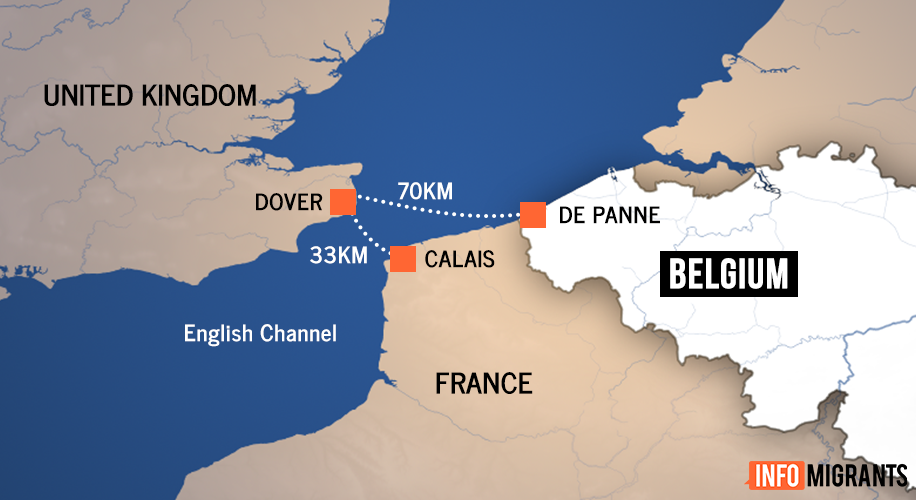 Sea routes to the United Kingdom from Calais, France and De Panne, Belgium | Map: InfoMigrants