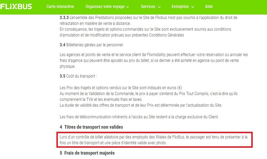 Capture dcran du site Flixbus
